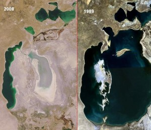 Aral Sea in 2008 and 1989