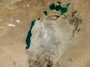 Aral Sea in 2014 showing dried up east lobe