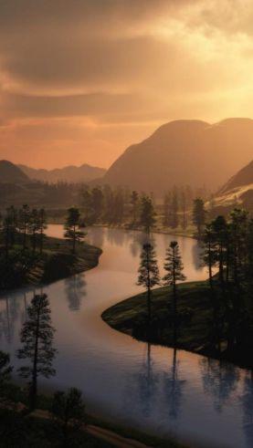 meandering gold river