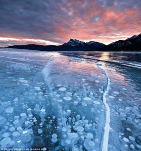 Methane bubbles in Canadian Lake