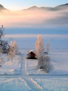 dawn snow road