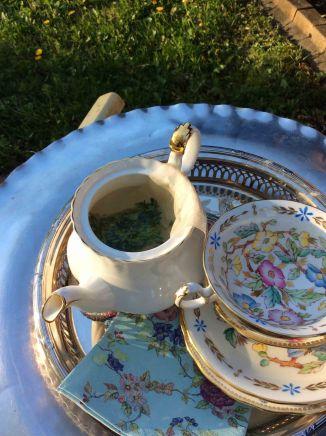 Cedar tea pot and cups