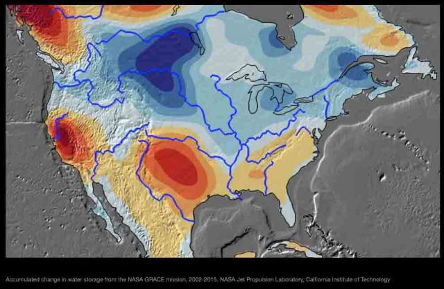 GRACE water zones in NorthAmerica